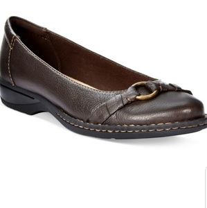 clarks pegg alba brown ballet flats size 7